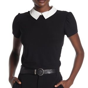 CECE Black Collar Solid Knit Crepe Contrast Top XS